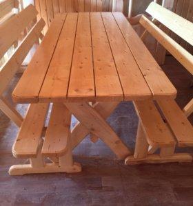 Столы деревянные обеденные + 2 лавки