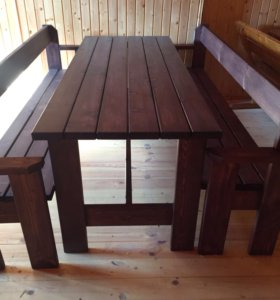 Стол дачный деревянный плюс две лавки ( комплект)