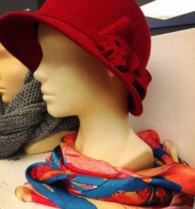 Фетровая шерстяная шляпа и палантин