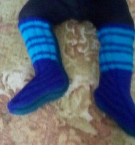 Вяжу носки на заказ с высокой голяшкой.