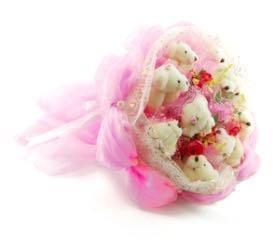 Букет из мягких игрушек- розовый