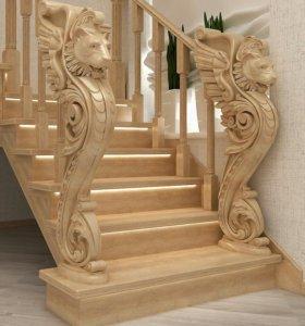 """Лестницы из массива """" под ключ"""" и комплетующие"""