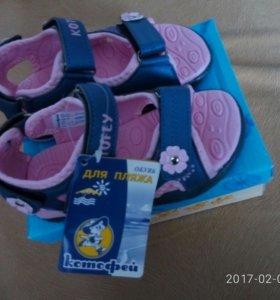 НОВЫЕ летние туфли для девочки 24 размер