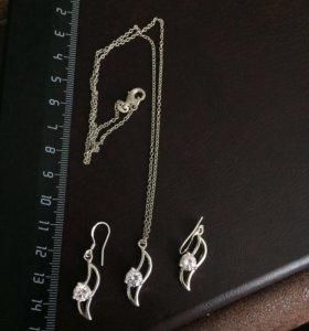 Серебряный комплект (цепочка с кулоном+серьги)