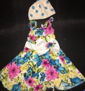 Платье и шапка ручная работа