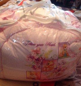 Комплект в кроватку бортики , одеяло ,подушка