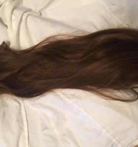 Волосы на заколках полунатуральные
