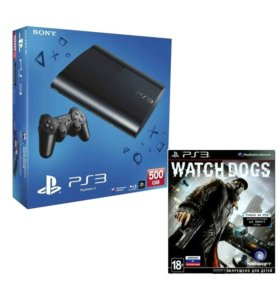PS3 500GB Superslim + игра Watch Dogs