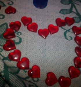Сердца декоративные 29 штук