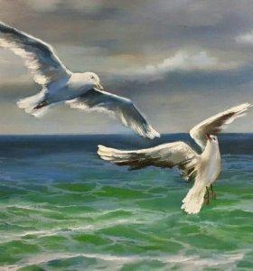 """Морской пейзаж """"Сны белых чаек"""". Купить картину."""