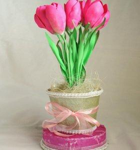 Светильник «Тюльпаны в горшочке»