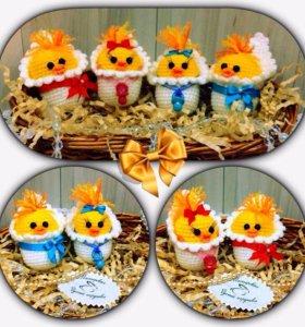 Пасхальный подарок, цыпленок игрушка амигуруми
