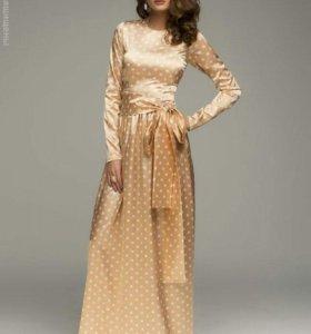 Атласное платье макси
