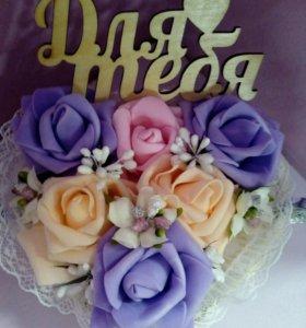 """Корзиночка с розами из фоамирана """"Для тебя"""""""