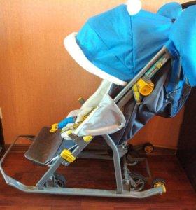 Санки-коляска Ника Детям 7-2 с колесами 2016 года
