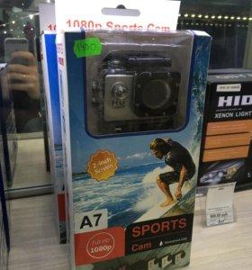 Экшен камера sports A7 новая с аквабоксом
