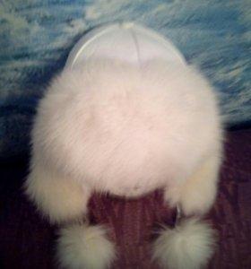 Зимняя женская шапка, натуральная кожа мех