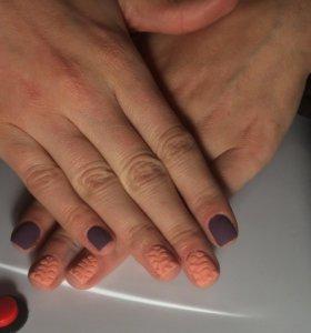 Маникюр,покрытие гель лаком с покрытиями