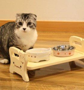 Деревянный стол для еды для кошек и маленьких соба