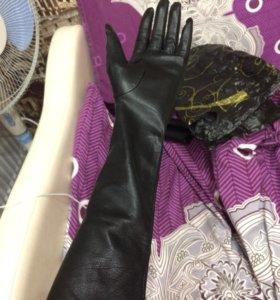 Кожаные перчатки (длинные)