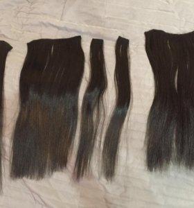 Волосы на заколках (темный каштан)