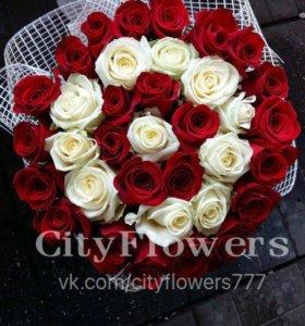 Букет 31 роза Тортик 🎂