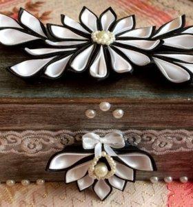 Шкатулка с цветами канзаши (ручной работы)