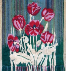 Гобелен, ручное ткачество, Маки, цветы