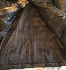 Кожаный пуховик-пальто с натуральным мехом