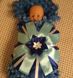 Новый оригинальный детский пледик из помпонов
