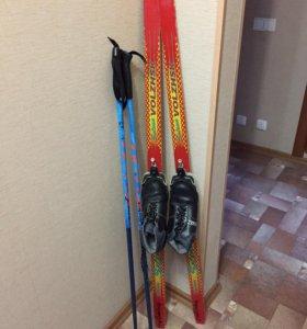 Детские лыжи деревянные