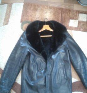 Куртка зимняя кожаная с норковым воротником