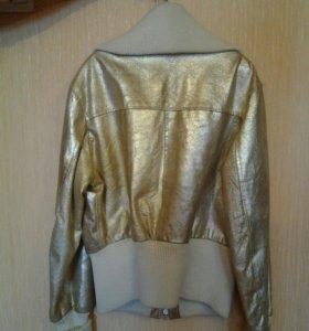 Куртка кожаная золотая