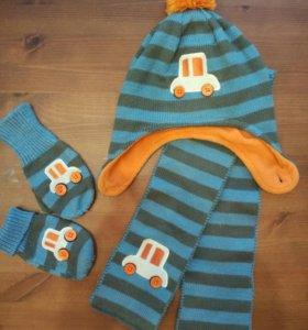 Комплект шапка/шарф/варежки