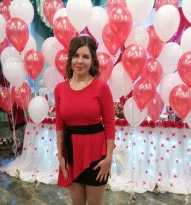 Платье красное, 44-46