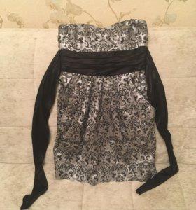 Платье короткое, серое