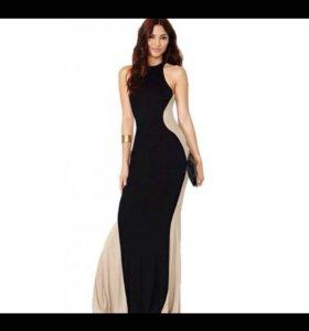 Вечернее платье в пол черное