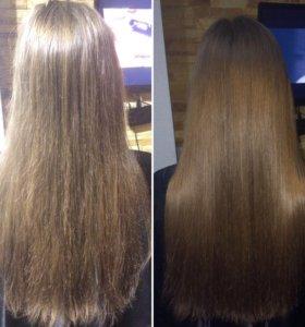 Полировка волос. Фото до и после.
