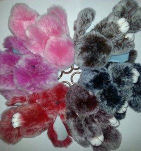Брелки кролики из натурального меха Шиншилл