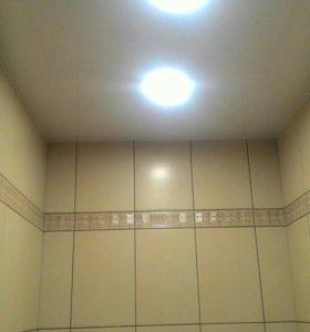 Натяжной потолок в ванну и туалет.