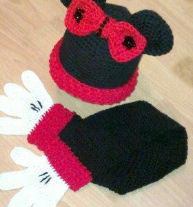 Новый комплект шапка с шарфом