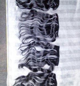 Натуральные накладные волосы на заколках