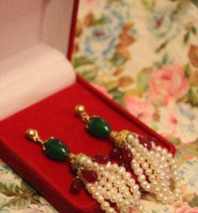 Серьги с бриллиантами, уникальные- ручная работа
