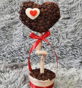 Сердечки из кофе