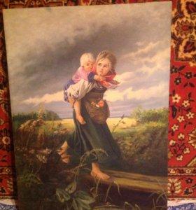 """Копия картины,""""Дети бегущие от грозы""""."""