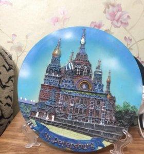 Декоративная расписная 3D тарелка