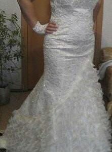 Платье свадебное(новое), шубка, фата