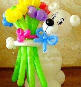 Мишка с букетом. 🐼 оформление шарами