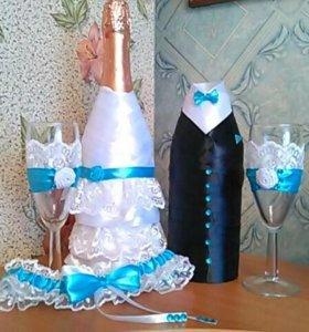 Украшения на бутылки шампанского на свадьбу