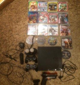 PlayStation 3 + PlayStation Move + 17 игр